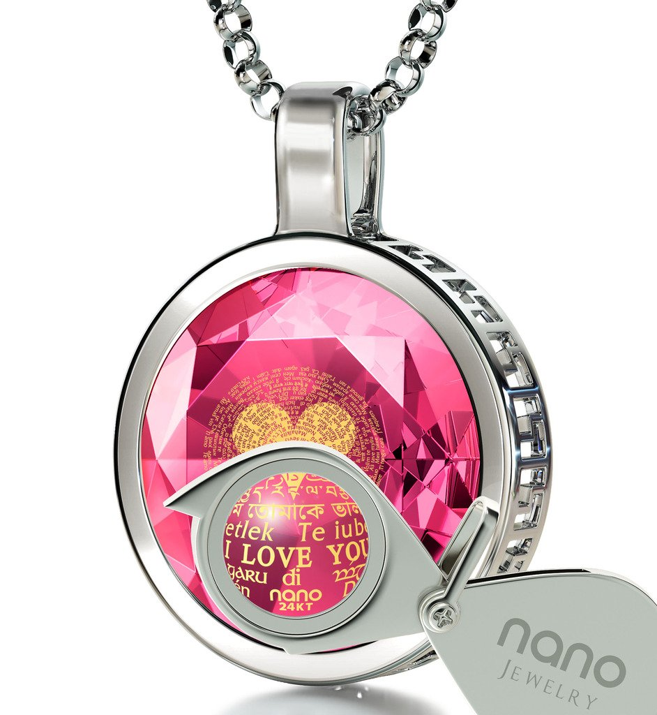 925 Sterling Silver I Love You Necklace 120 Languages Gold Inscribed Pink Cubic Zirconia Pendant, 18''