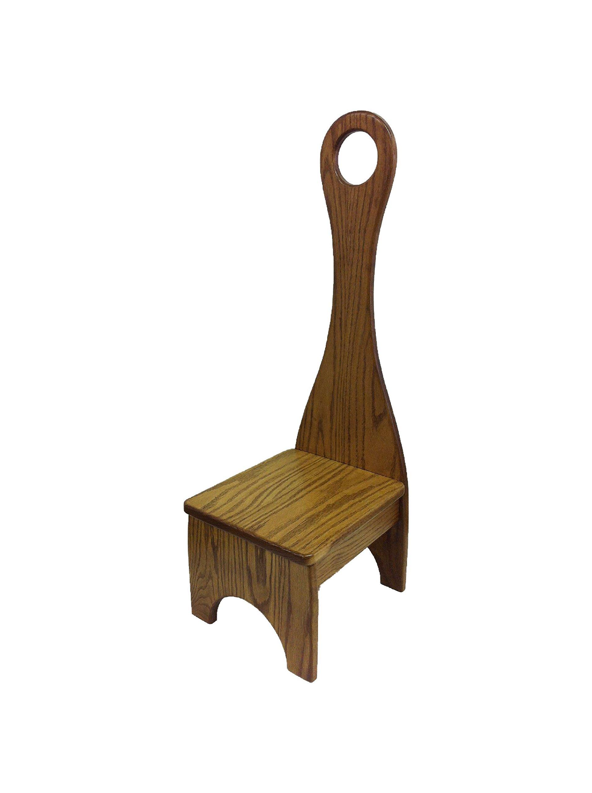 Tall Handle Step Stool, Solid Wood Bench Step Stool (Medium Stain, Oak)