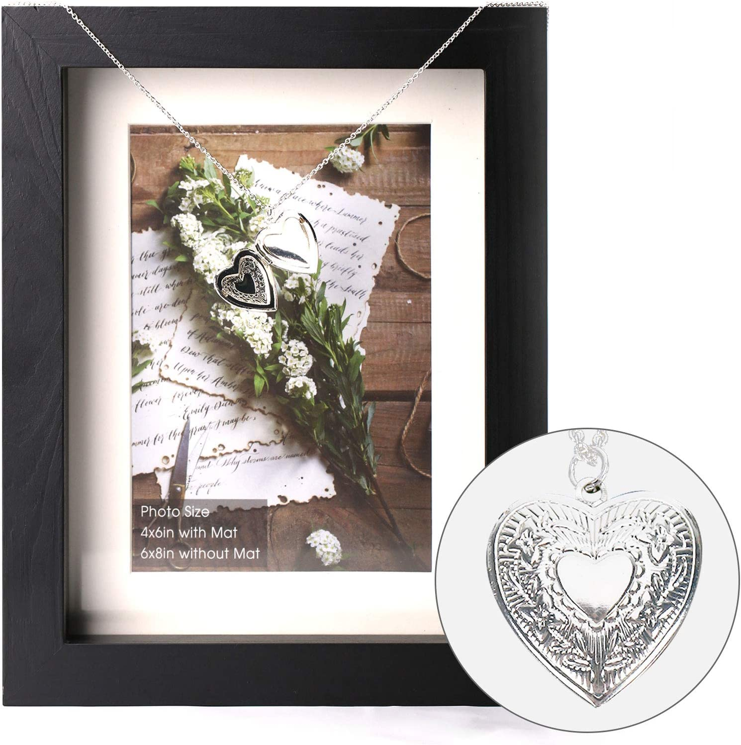 PR PeakRous Black Shadow Box Pictures Frame in Loving Memory Hanging Photo Deep Box Frames 4x6 with Mat 6x8 Without Mat for Loss of Loved One Tabletop Display Case Jewelry Wall Mount Solid Wood