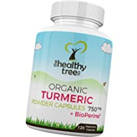 Organic Turmeric Capsules with BioPerine Black Pepper Extract - High Strength 750mg PER Tablet Turmeric Curcumin Root by TheHealthyTree Company (120 x 750mg)