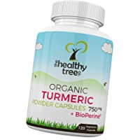 Organic Turmeric Capsules with BioPerine Black Pepper Extract - High Strength 750mg PER Tablet Turmeric Curcumin Root by TheHealthyTree Company