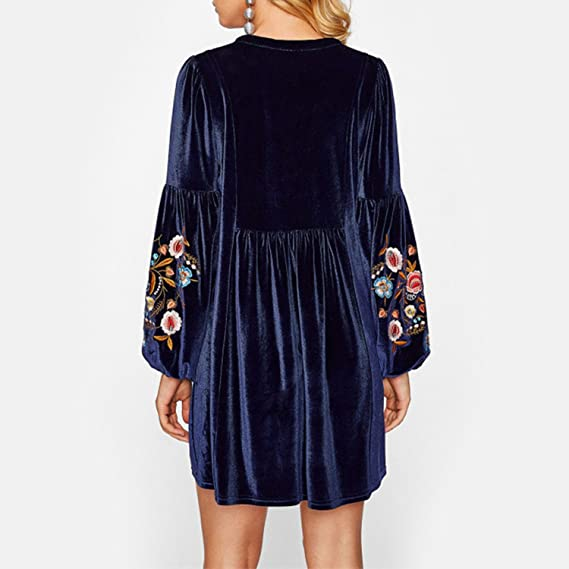 Style-plus-Selfdom Tasseled Tie Bishop Sleeve Embroidery Velvet Dress Navy Long Sleeve V Neck A Line Dress Fall Women Dresses at Amazon Womens Clothing ...