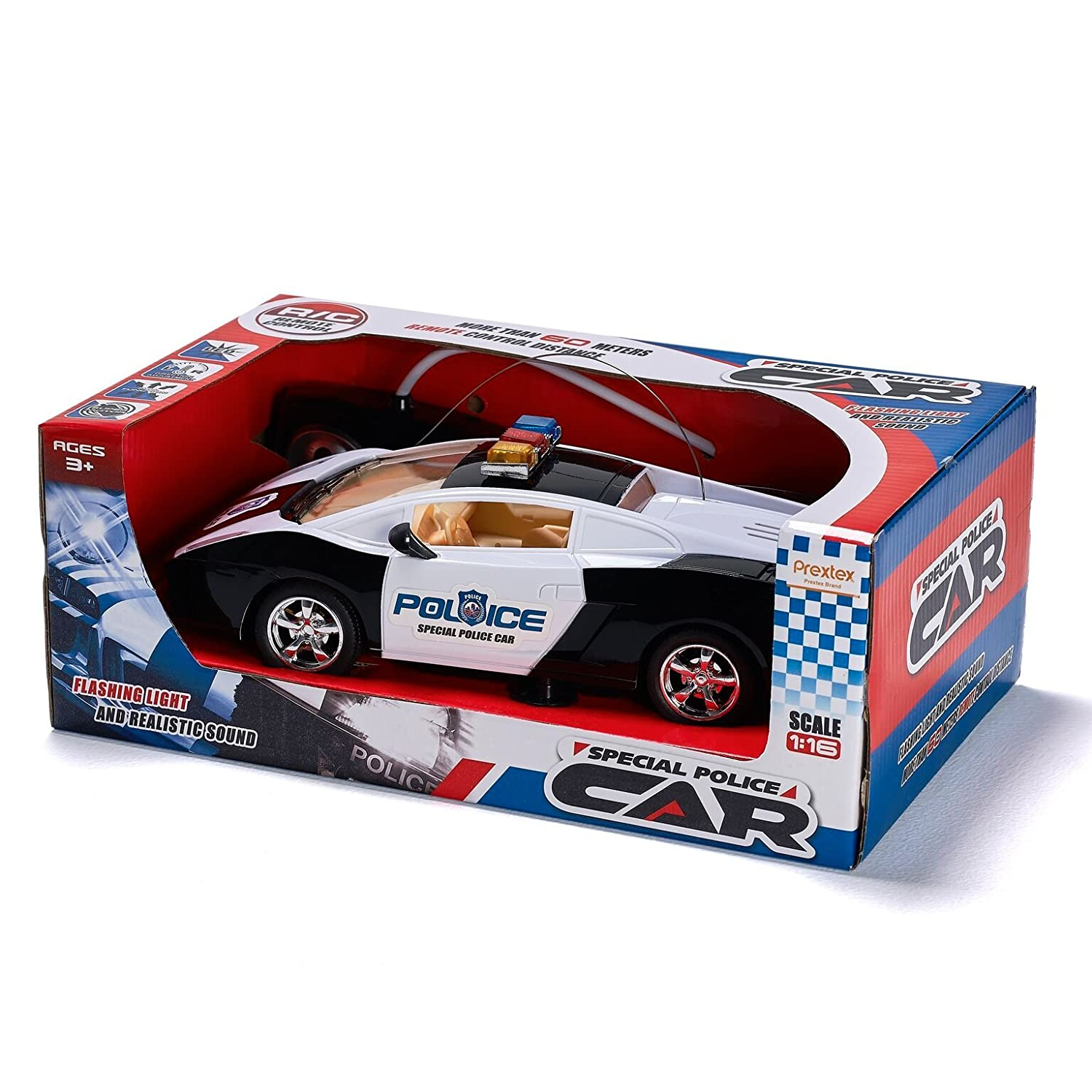 Amazon Prextex Remote Control Police Car with LED Lights and