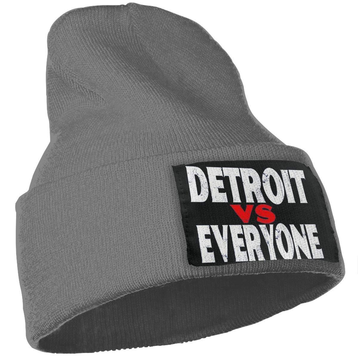 SLADDD1 Detroit Vs Everyone Warm Winter Hat Knit Beanie Skull Cap Cuff Beanie Hat Winter Hats for Men /& Women