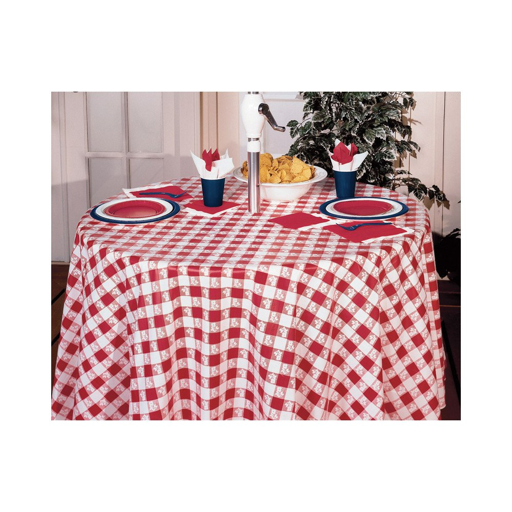 Amazon.com: Creative Converting Octy Round Plastic Table Cover, 82 Inch,  Red Gingham: Tablecloths: Kitchen U0026 Dining