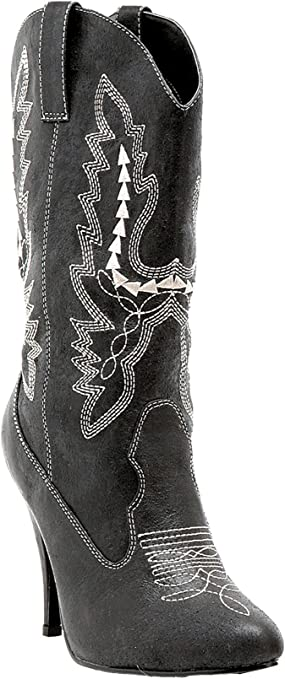 Ellie Shoes 418-COWGIRL Womens 4 Inch Heel Ankle Cowgirl Boot With Stiletto Heel
