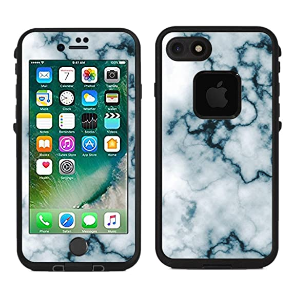 cheap for discount 918e0 89214 Protective Designer Vinyl Skin Decals/Stickers for Lifeproof Fre iPhone 7 /  iPhone 8 Case -Abstract White Marble Slice Gemstone Geode Druse Design ...
