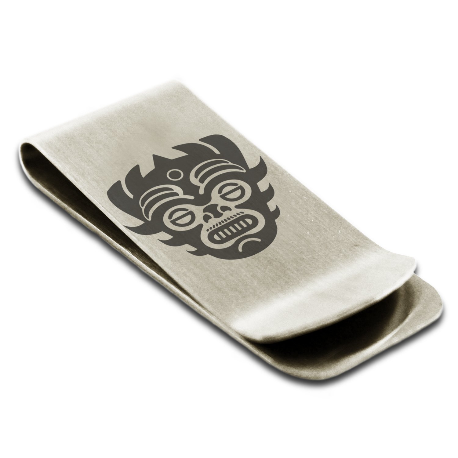 Stainless Steel Aztec Warrior Mask Rune Symbol Engraved Money Clip Credit Card Holder