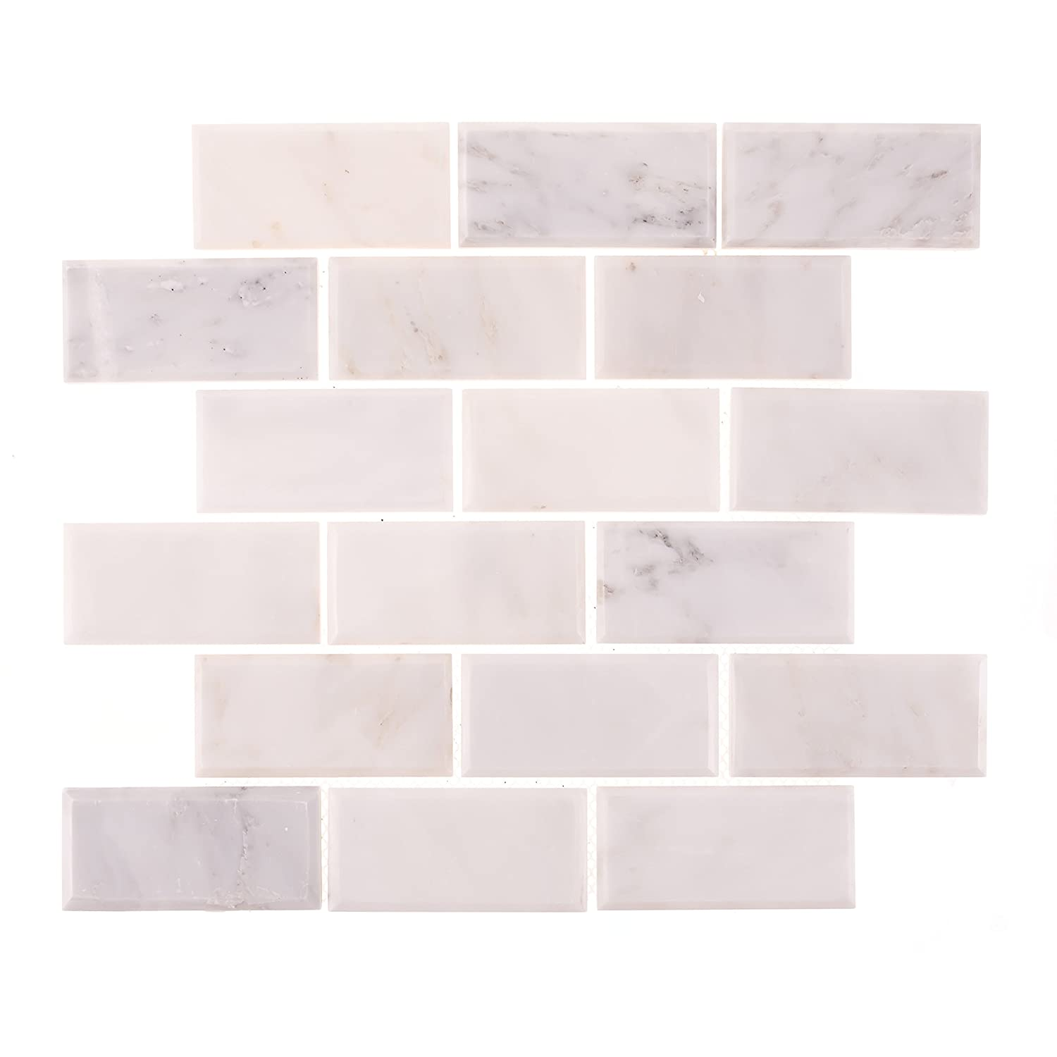 Sample of polished aspen white marble 2x4 beveled subway tile for sample of polished aspen white marble 2x4 beveled subway tile for backsplashes and bathrooms amazon dailygadgetfo Image collections