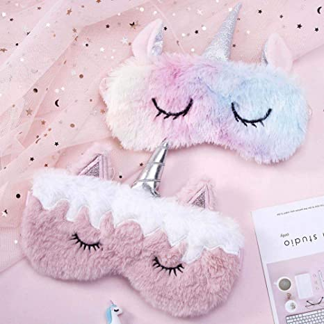 KroY PecoeD Morbida maschera per dormire in peluche a forma di unicorno ideale per donne e ragazze