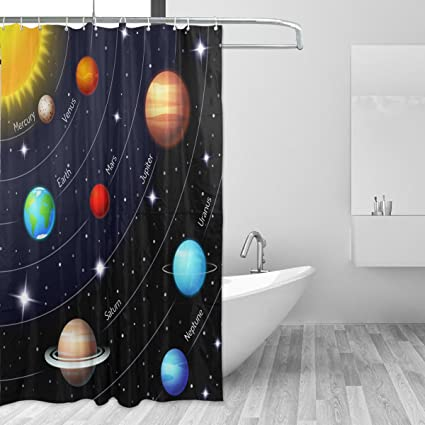 LORVIES Educational Colorful Solar System Shower Curtain Polyester Fabric Water Repellent Mildew Resistant For