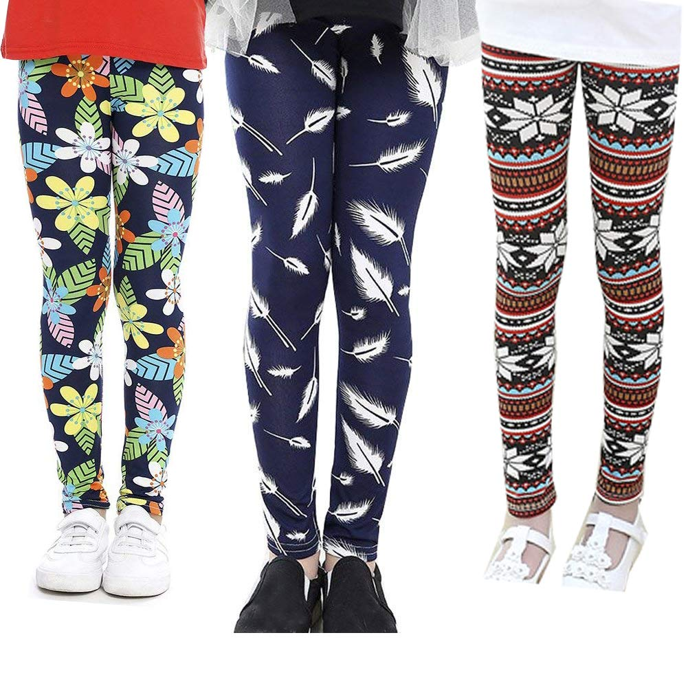 Z-Chen Lot de 3 Collants Leggings Motif de Fleur Enfant Fille 241006edc1c