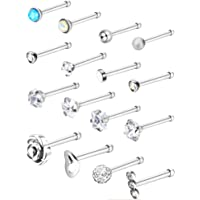 eca192225 Jovitec Stainless Steel Nose Stud Set Steel Nose Ring Rose Ball Labret Body  Piercing Jewelry for