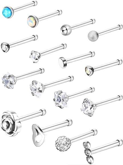 Amazon Com Jovitec Stainless Steel Nose Stud Set Steel Nose Ring
