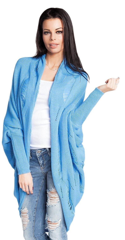 FOBYA - Womens Shawl Collar Knit Cocoon Dolman Cardigan Openwork Pattern - 480z