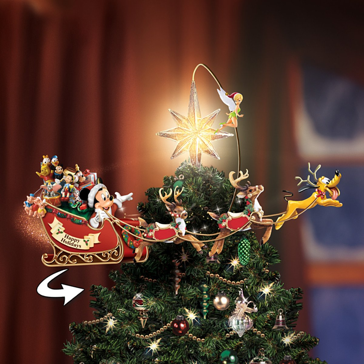 amazoncom disneys timeless holiday treasures tree topper by the bradford exchange home kitchen - Disney Christmas Tree Topper