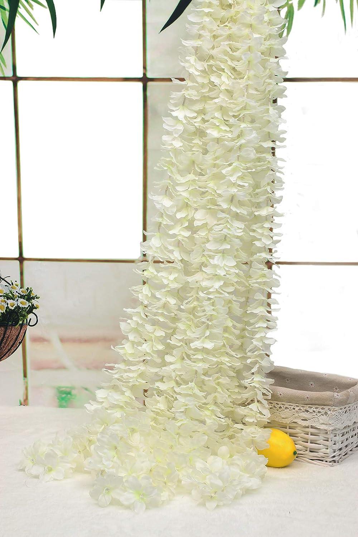 チャーミングな人工アジサイのつる10本 フェイクシルクのウミガメ 花飾り つる 結婚式 ホームガーデン パーティーの装飾 各つる 長さ3.28フィート Hiler-041w B07NSYFQC4 ホワイト