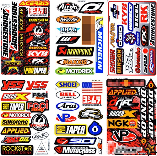 6 SHEETS NEW MULTI LOGO CAR MOTOCROSS ATV ENDURO BIKE RACE RACING DECAL STICKER GRAPHIC (New Car Sticker Decal)