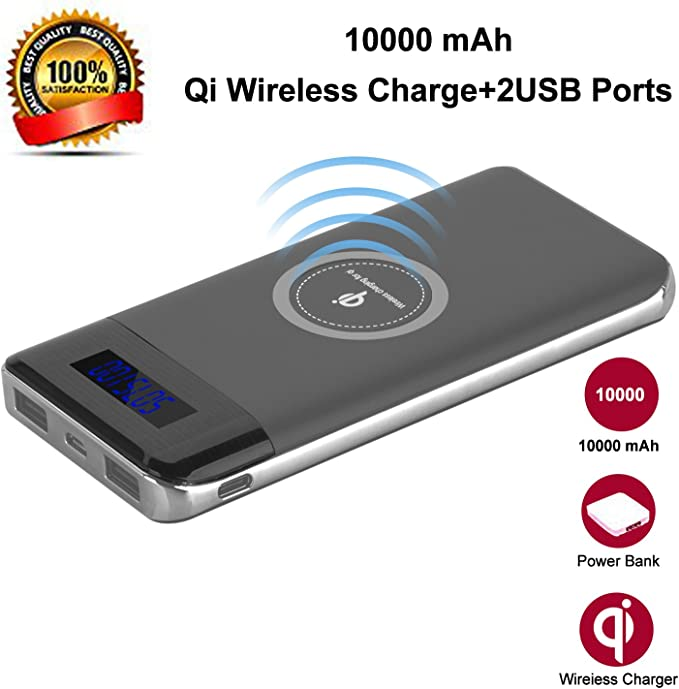 Wireless Charger Power Bank, YGIVO 10000Mah 3 in 1 Qi Power Bank and Qi Wireless Portable Charger for iPhone x88 Plus,Samsung Galaxy S678 and More