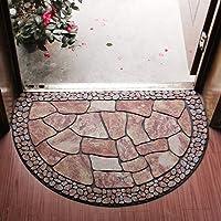 Half Round Entrance Door Mat,Non-Slip Door Mat Hand-Stenciled Entrance Rug Indoor/Outdoor Door Shoe Scraper Entryway…