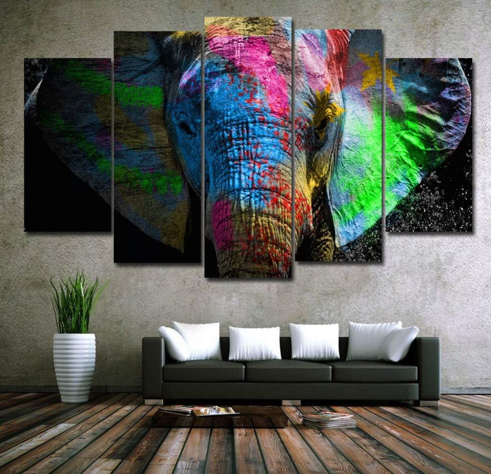 Foagge 5 Paneles Coloridos Elefantes Animales Arte Lienzo Pintura Posters Impresiones En Lienzo Cuadro de la Pared para la Decoración Casera Arte de la Pared