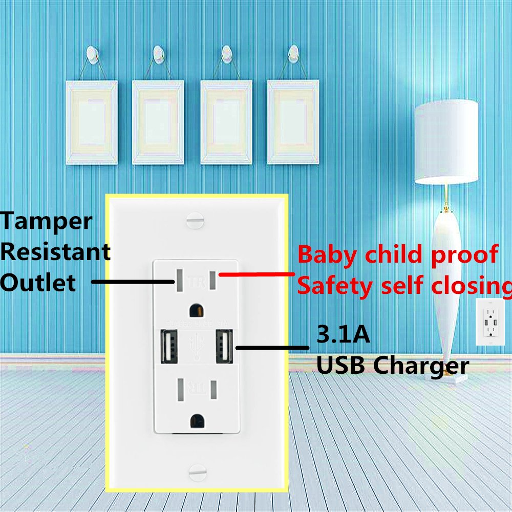 Ecoeler 2 Pack-UL Listed USB Charger Wall Outlet High Speed Dual USB Charger 3.1A Charging Capability 15A Tamper Resistant Duplex Receptacle Child Proof Safety Wall Plate Included by ECOELER (Image #4)