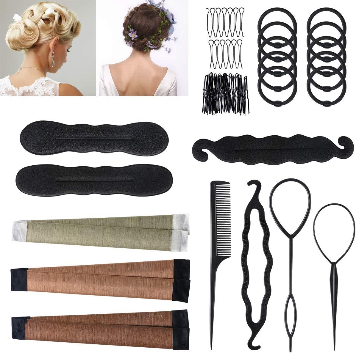 Accesorios de Peinado,URAQT Gomas moño de pelo,Herramientas Accesorios Hacedor Braid Cabello Trenzado Peinado Clip Herramientas para Diseño de Espuma para Niñas Mujeres con pelo DIY