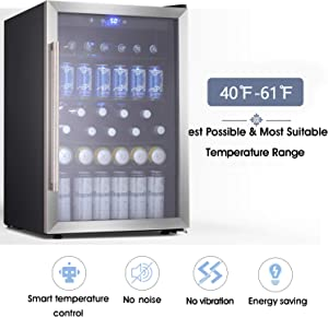 Beverage Refrigerator and Cooler - Drink Fridge with Glass Door for Soda, Beer or Wine - Small Beverage Center with 5 Removable Shelves for Office/Man Cave/Basements/Home Bar (4.5 Cu. Ft.(Upgrade))