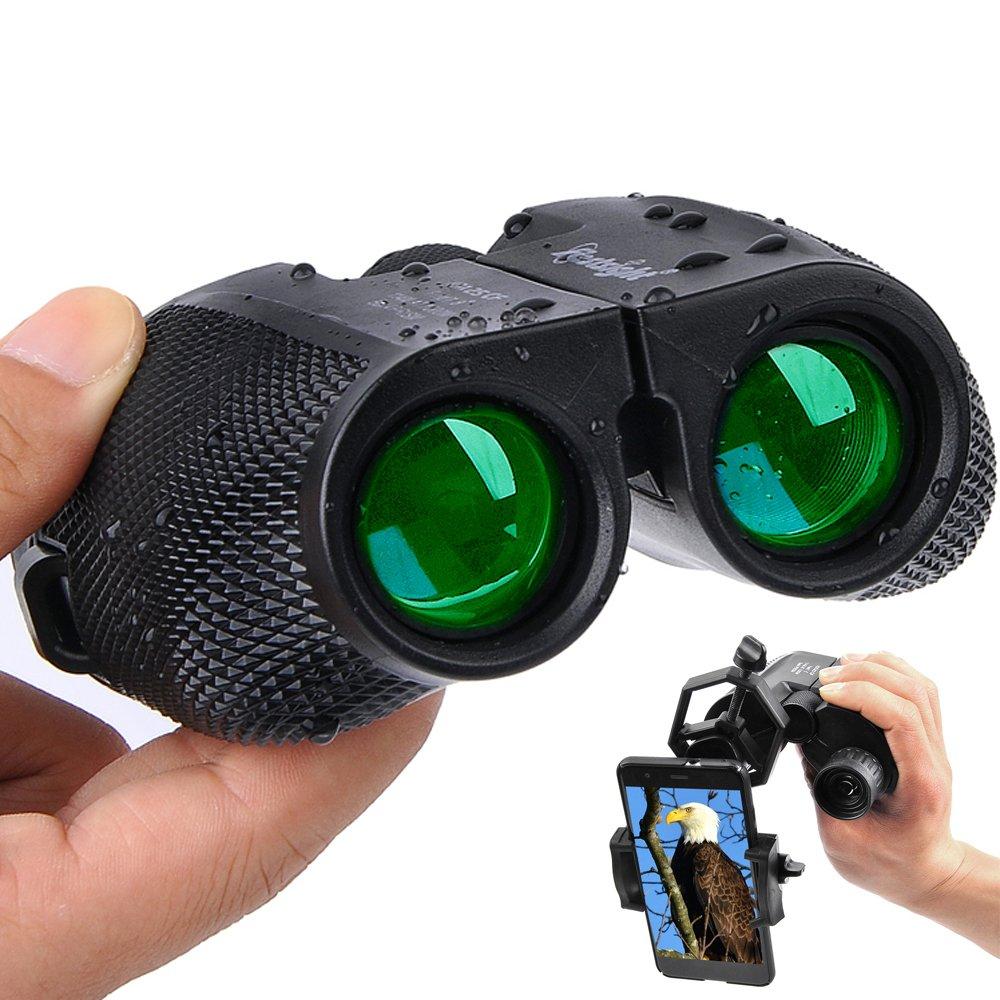 Binoculars for Adults Compact - 10×25 High Powered Lightweight Zoom Binocular With Universal Phone Adapter for Kids Women Men Hunting,Travel,Birding, Concert,Waterproof Weak Light Night Vision