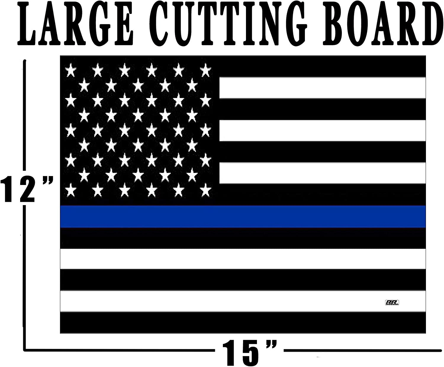 The Thin Blue Line Flag Glass Cutting Board Decorative Police Officer Sheriff Deputy Law Enforcement PD Department Design