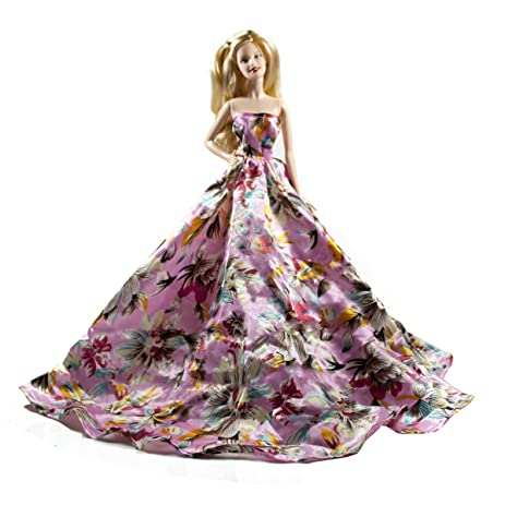 Amazon.com: Peregrine Pink Floral Silk Ball Gown for Barbie Doll ...