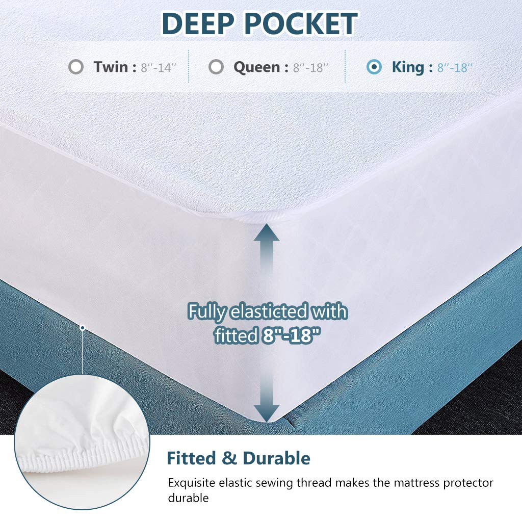 Awenia King Mattress Protector, 100% Waterproof Bed Mattress Cover, Hypoallergenic Breathable Noiseless Machine Washable, Fitted 8''-18'' Deep Pocket by Awenia (Image #4)