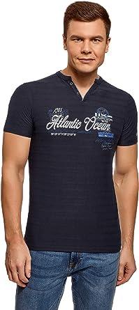 oodji Ultra Hombre Camiseta Henley con Bordado: Amazon.es: Ropa y accesorios
