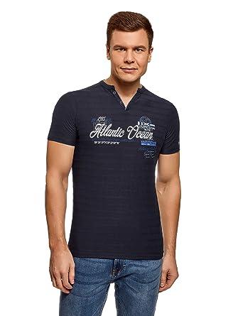 oodji Ultra Hombre Camiseta Henley con Bordado: Amazon.es: Ropa y ...