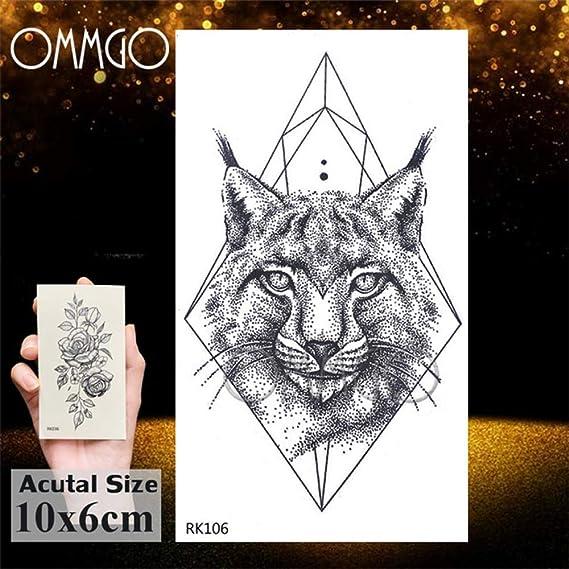 Tatuaje leopardo 5Pcs- rombo diamante del arte del gato Negro ...