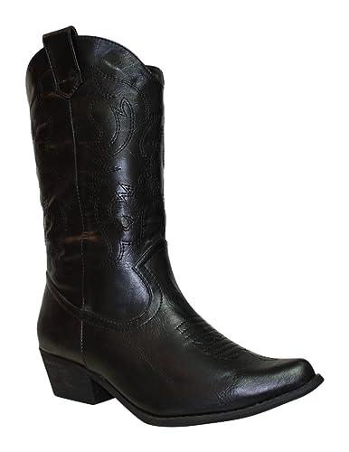 Women's Western Cuir Bottes Cowboy Bout Pointu Femme Large Mollet Bottes-afficher le titre d'origine