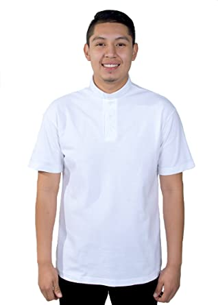 0c5c4afe9f250b Mercy Robes Mens Clergy Polo Short Sleeves TAB Shirt (White) at Amazon Men's  Clothing store: