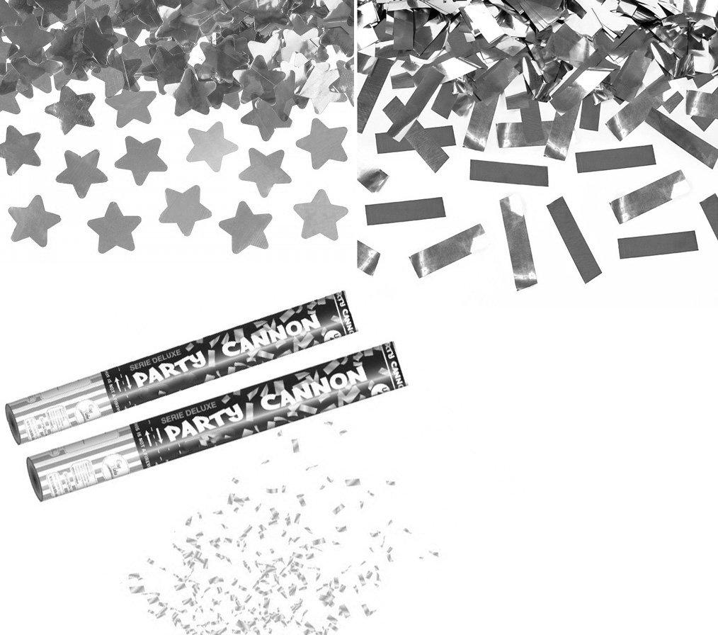 takestop® SET 2 TUBI TUBO SPARACORIANDOLI stelle ARGENTO glitter SILVER 40CM FESTA PARTY PROMESSA MATRIMONIO NOZZE SPARA CORIANDOLI MOON 1008382