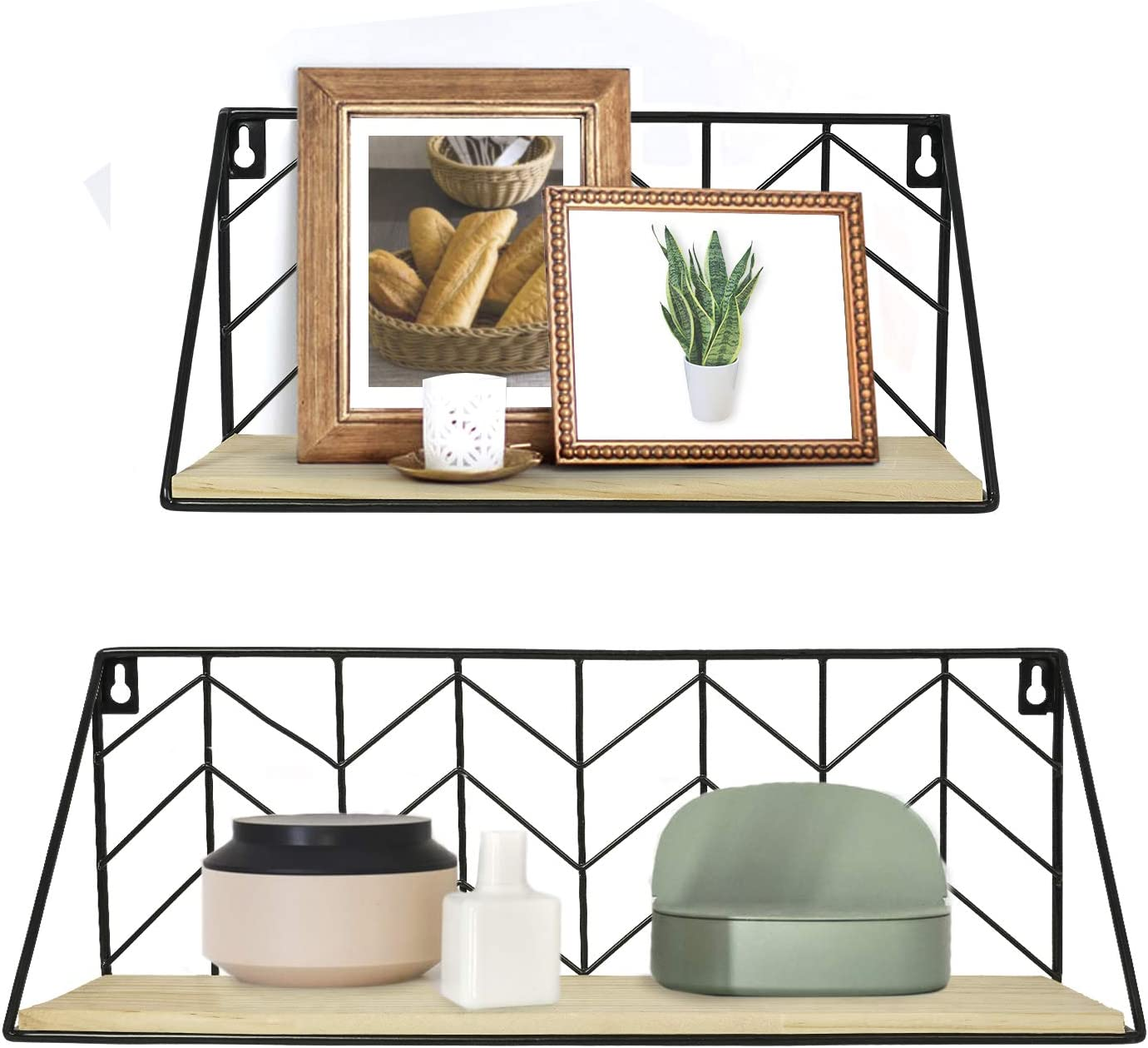 Small and Large Kitchen Set of 2 Black Wire Metal Wood Shelves Bedroom Living Room TIMEYARD Floating Shelves Wall Mounted Bathroom Dorm Modern Arrow Design Storage Shelf for Small Items