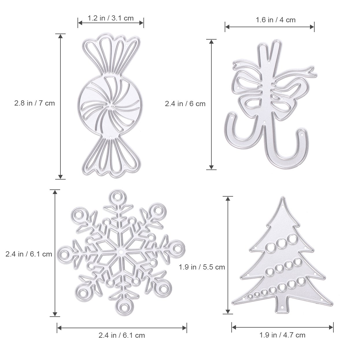 Ultnice Metal Stencils Template Christmas Snowflake Tree Kit Cutting