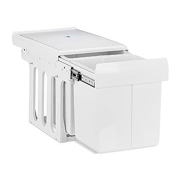 Relaxdays Mülltrennsystem Auszug, 2 Mülleimer, Einbau, für Schrank, Küche,  2 x 15 L, Kunststoff, HBT: 35x34x48cm, weiß