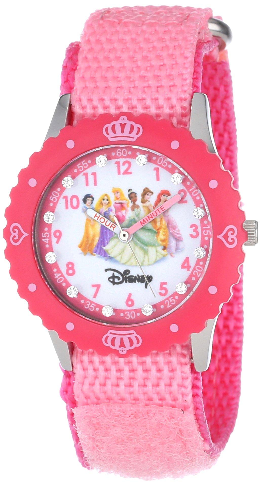 Disney Kids' W000385 Princess Glitz  Stainless Steel Time Teacher Pink Bezel Pink Nylon Strap Watch by Disney