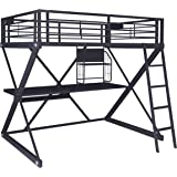 Powell Furniture Powell Z-Bedroom Loft Study Full Size Bunk Bed, Textured Black with Silver Trim & Pulls