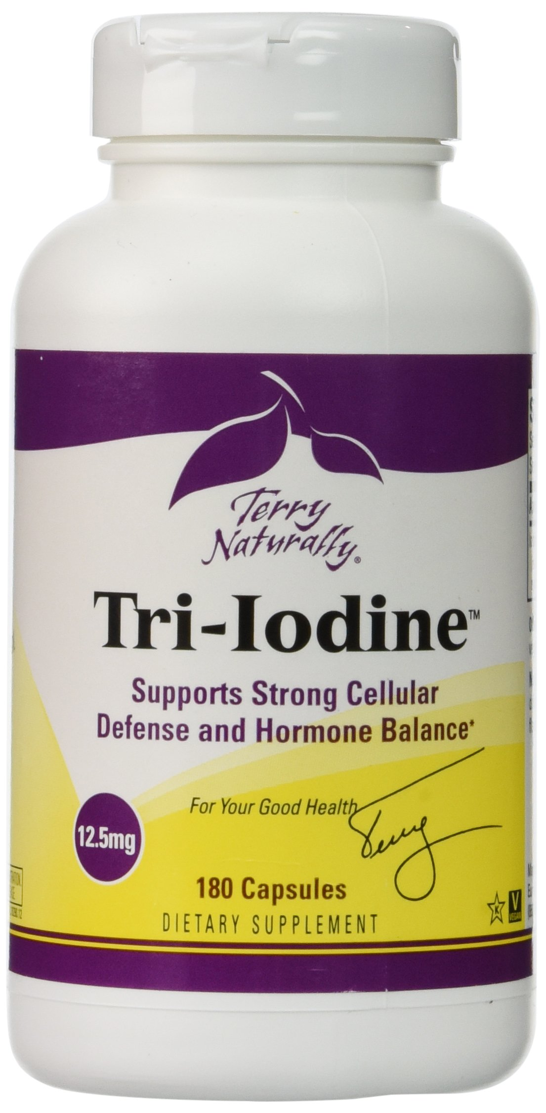 Terry Naturally Tri-Iodine 12.5 mg - 12500 mcg Iodine, 180 Vegan Capsules - Supports Hormone Balance, Promotes Breast & Prostate Health - Non-GMO, Gluten-Free, Kosher - 180 Servings
