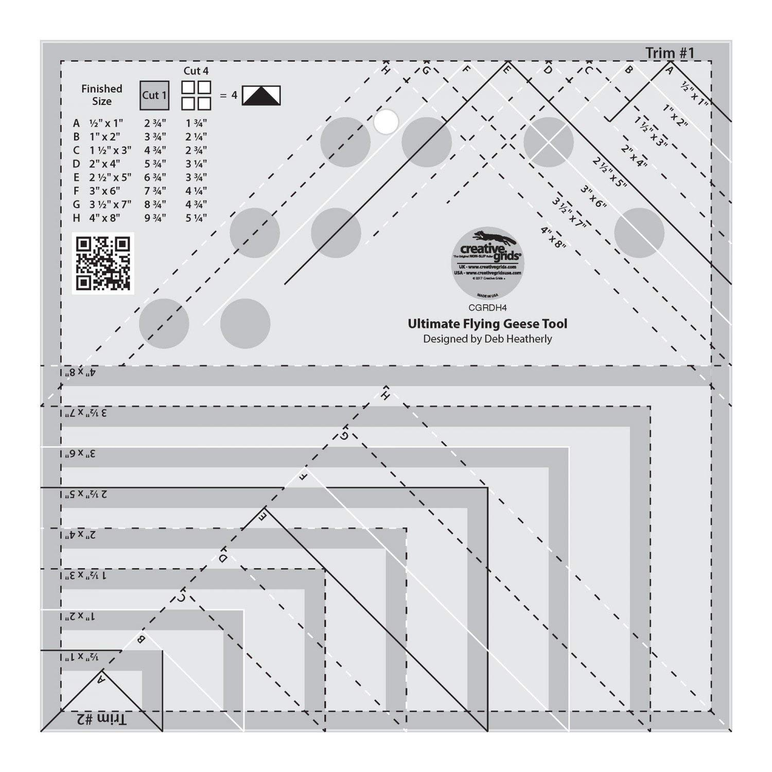 Creative Grids Ultimate Flying Geese Template and Quilt Ruler [CGRDH4] by Creative Grids