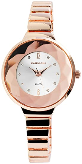 Reloj mujer plata rosado. Oro Analog brillantes números arábigos metal Reloj de pulsera