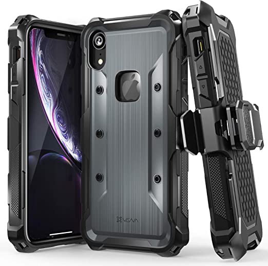 Varmor Coque rigide pour iPhone XR (protection contre les chutes de qualité militaire) avec clip ceinture avec béquille conçue pour Apple iPhone XR ...