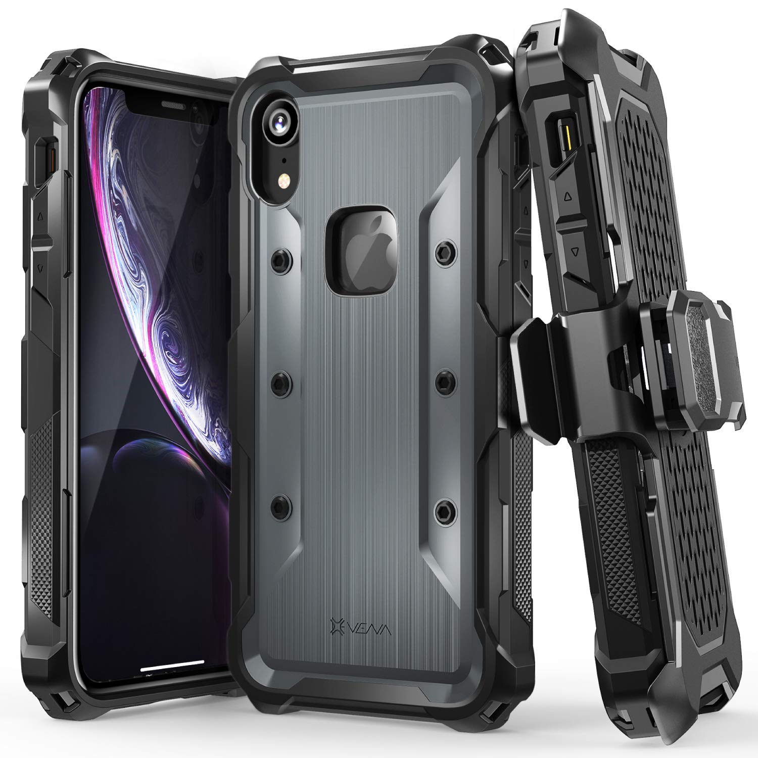 Vena (vArmor) iPhone XR Holster Case, Rugged Military Grade Heavy Duty Case with Belt Clip Swivel Holster and Kickstand, Compatible with iPhone XR (Black-Space Gray) by Vena