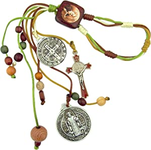 Home Blessing Multi Color Wood Beads with St Benedict Protection Medals and Enamel Crucifix