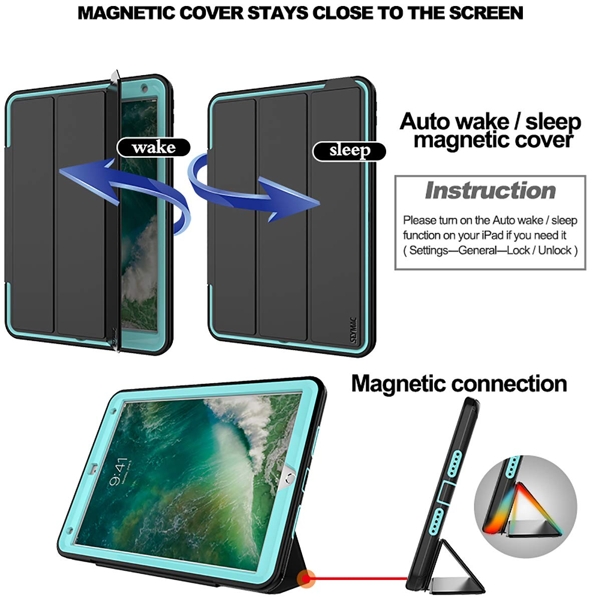 SEYMAC iPad Pro 10.5 Case, 3 Layer Heavy Duty Rugged Shockproof Drop Protective Folio Stand Case with Magnetic Smart Auto Wake Sleep Cover for iPad Pro 10.5 [A1701, A1709] Black/Light Blue